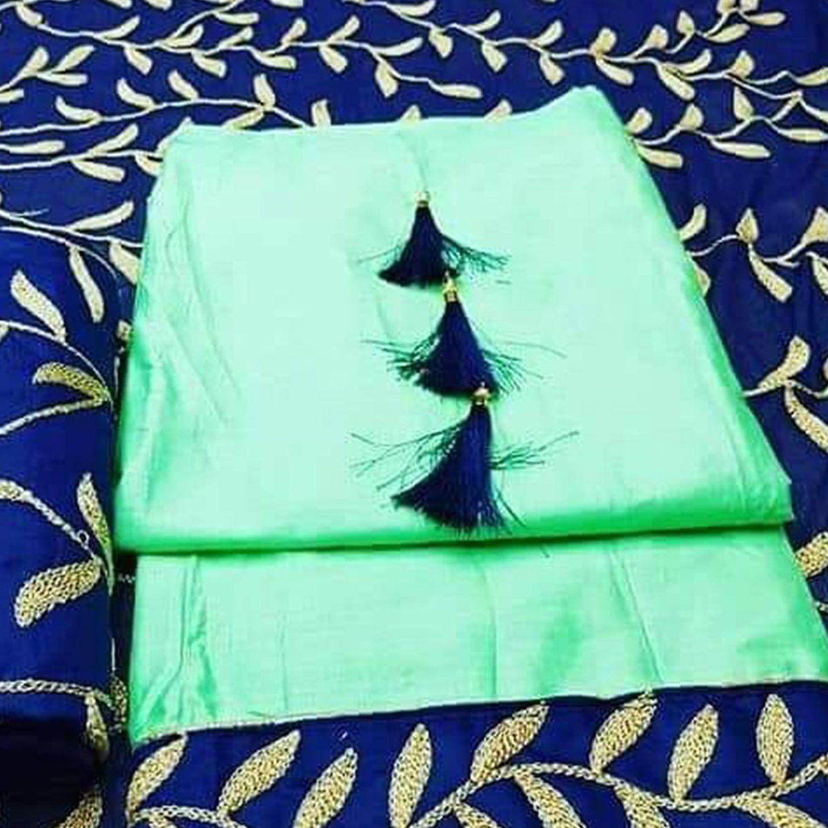 Blooming Pista Green Colored Partywear Embroidered Cotton Dress Material
