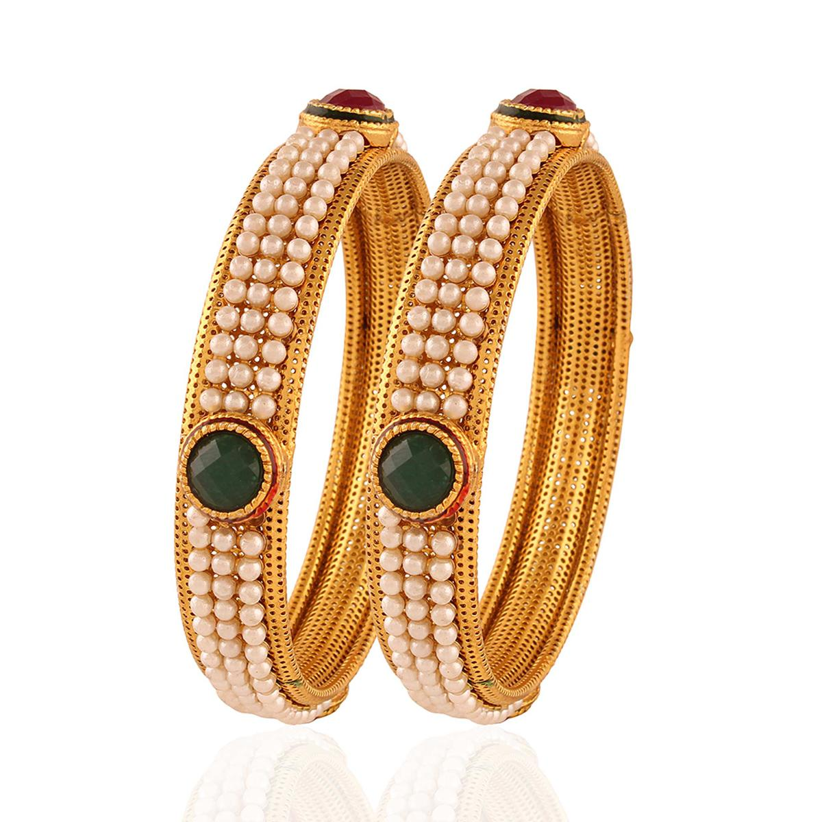 Gold plated maroon green pearl exuberant bangle