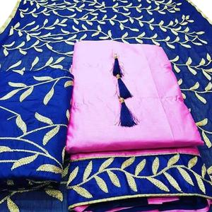 Perfect Rani Pink Colored Partywear Embroidered Cotton Dress Material