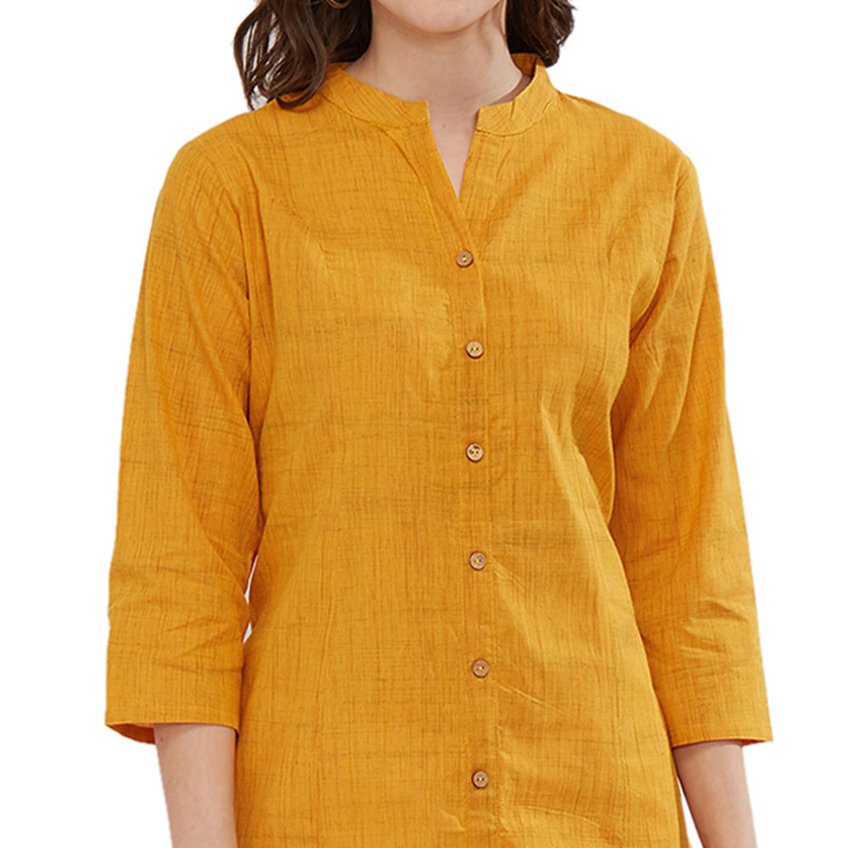 Glowing Yellow Colored Casual Rayon Kurti