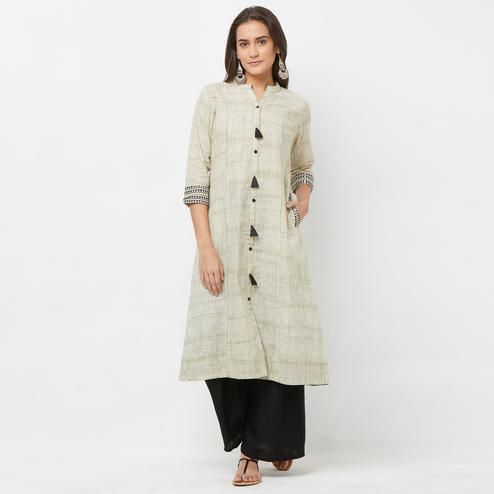 Pretty Light Olive Green Colored Casual Wear Cotton Kurti