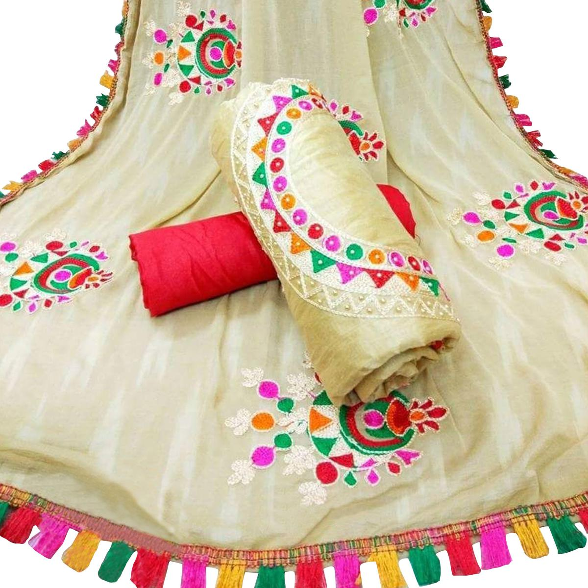 Majestic Beige Colored Partywear Embroidered Cotton Dress Material