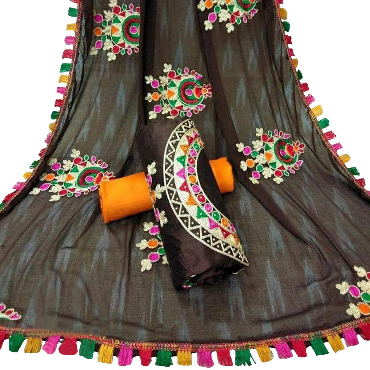 Stylish Brown Colored Partywear Embroidered Chanderi Silk Dress Material
