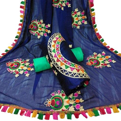 Opulent Navy Blue Colored Partywear Embroidered Chanderi Silk Dress Material