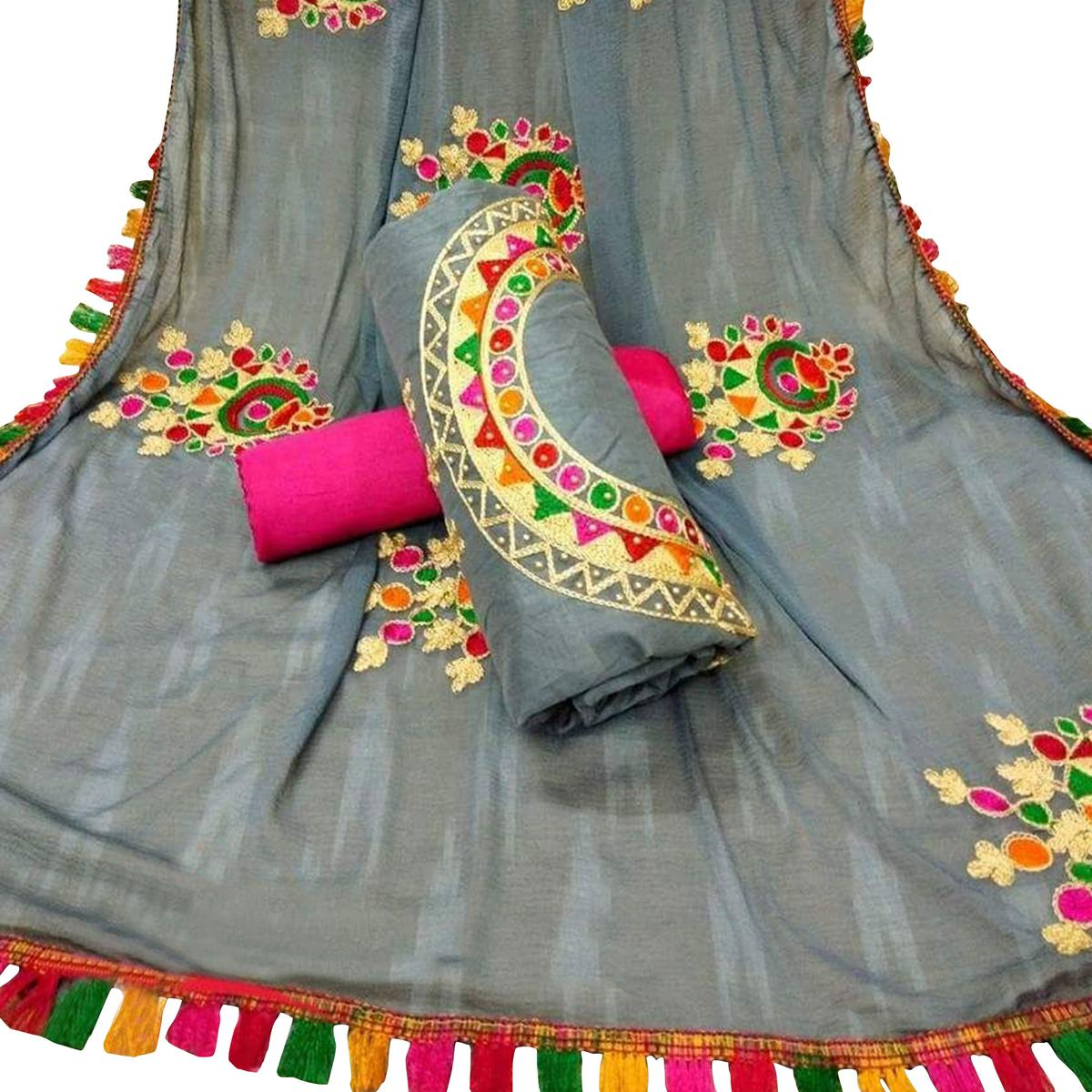 Stunning Gray Colored Partywear Embroidered Chanderi Silk Dress Material