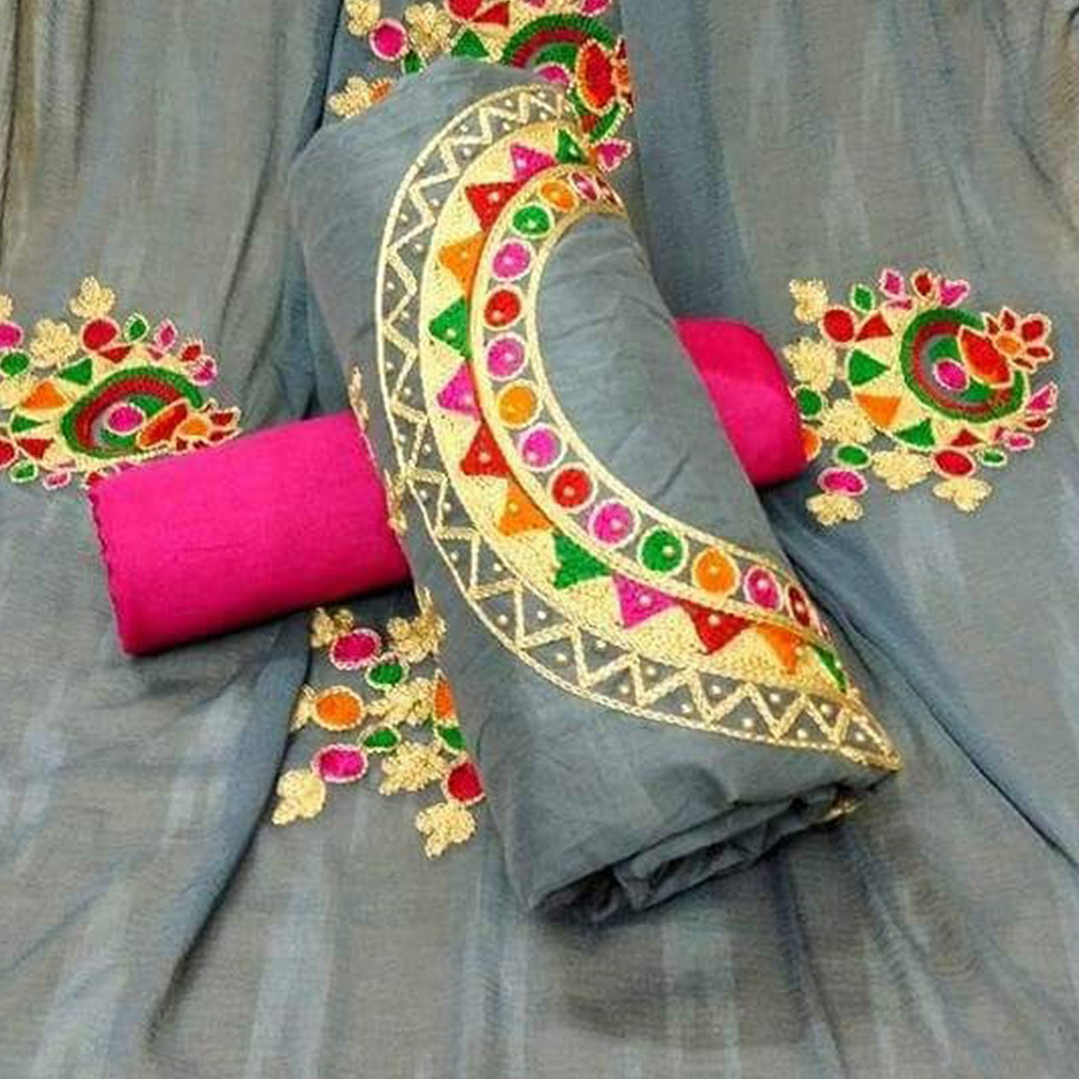 Stunning Gray Colored Partywear Embroidered Cotton Dress Material