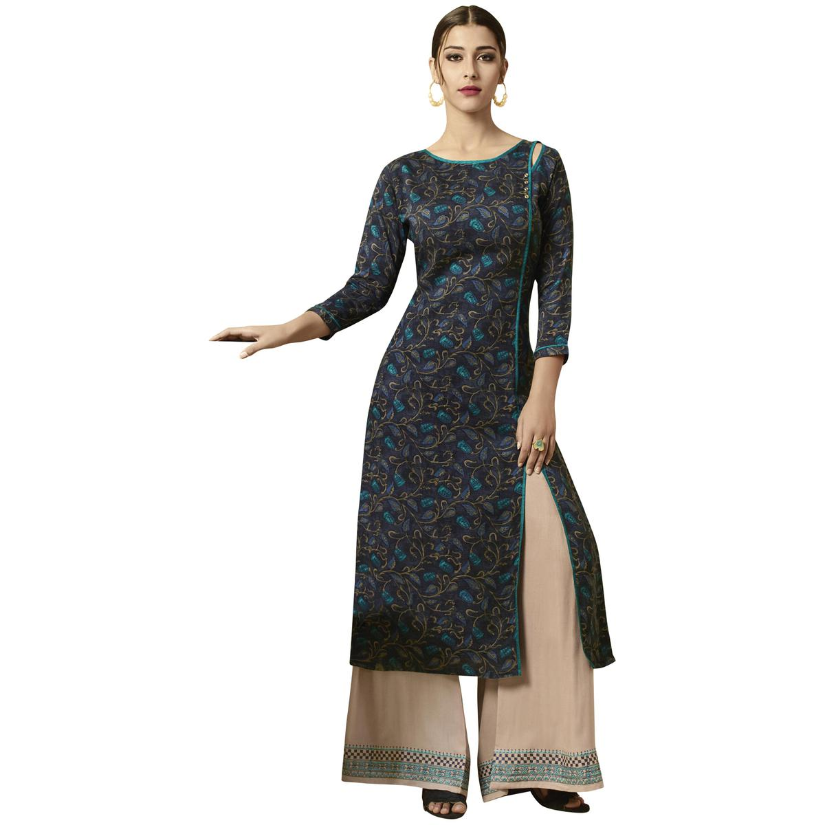 Attractive Navy Blue Colored Partywear Printed Rayon Kurti-Palazzo Set