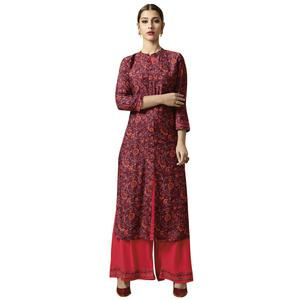 Trendy Maroon Colored Partywear Printed Rayon Kurti-Palazzo Set