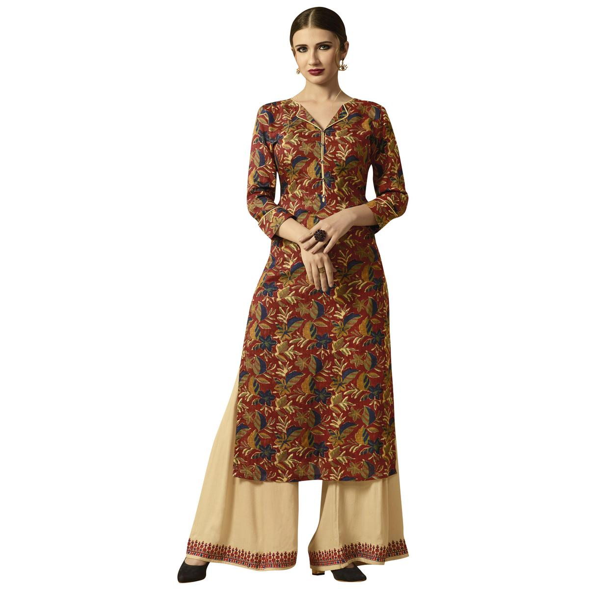 Groovy Multi Colored Partywear Printed Rayon Kurti-Palazzo Set