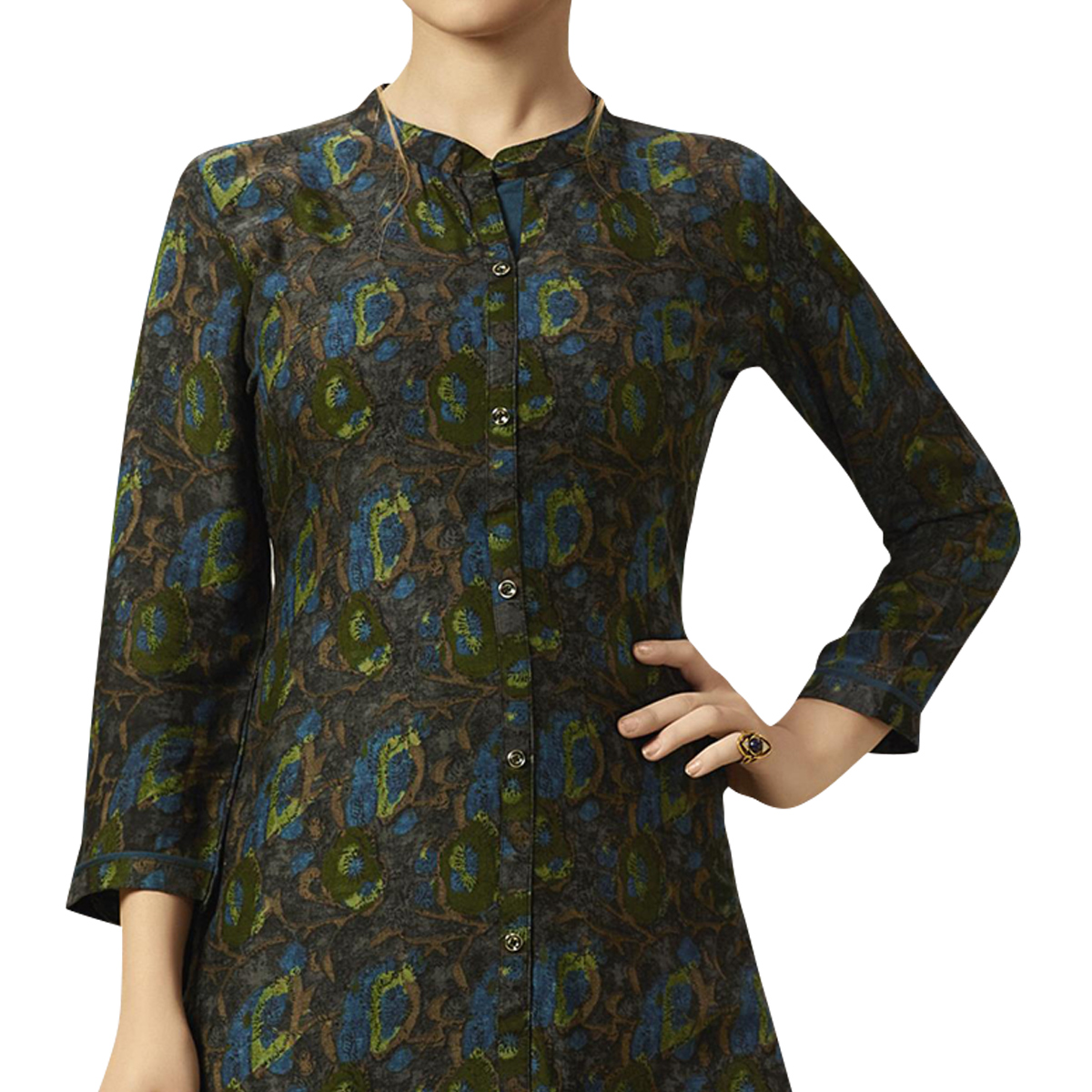 Amazing Dark Gray Colored Partywear Printed Rayon Kurti-Palazzo Set