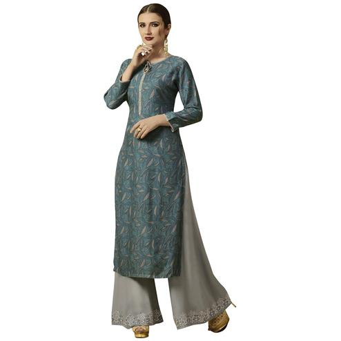Appealing Light Gray Colored Partywear Printed Rayon Kurti-Palazzo Set