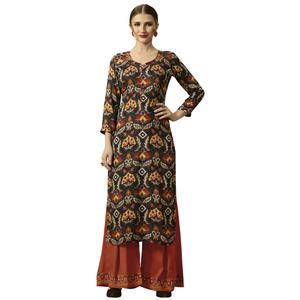 Eye-Catching Multi Colored Partywear Printed Rayon Kurti-Palazzo Set