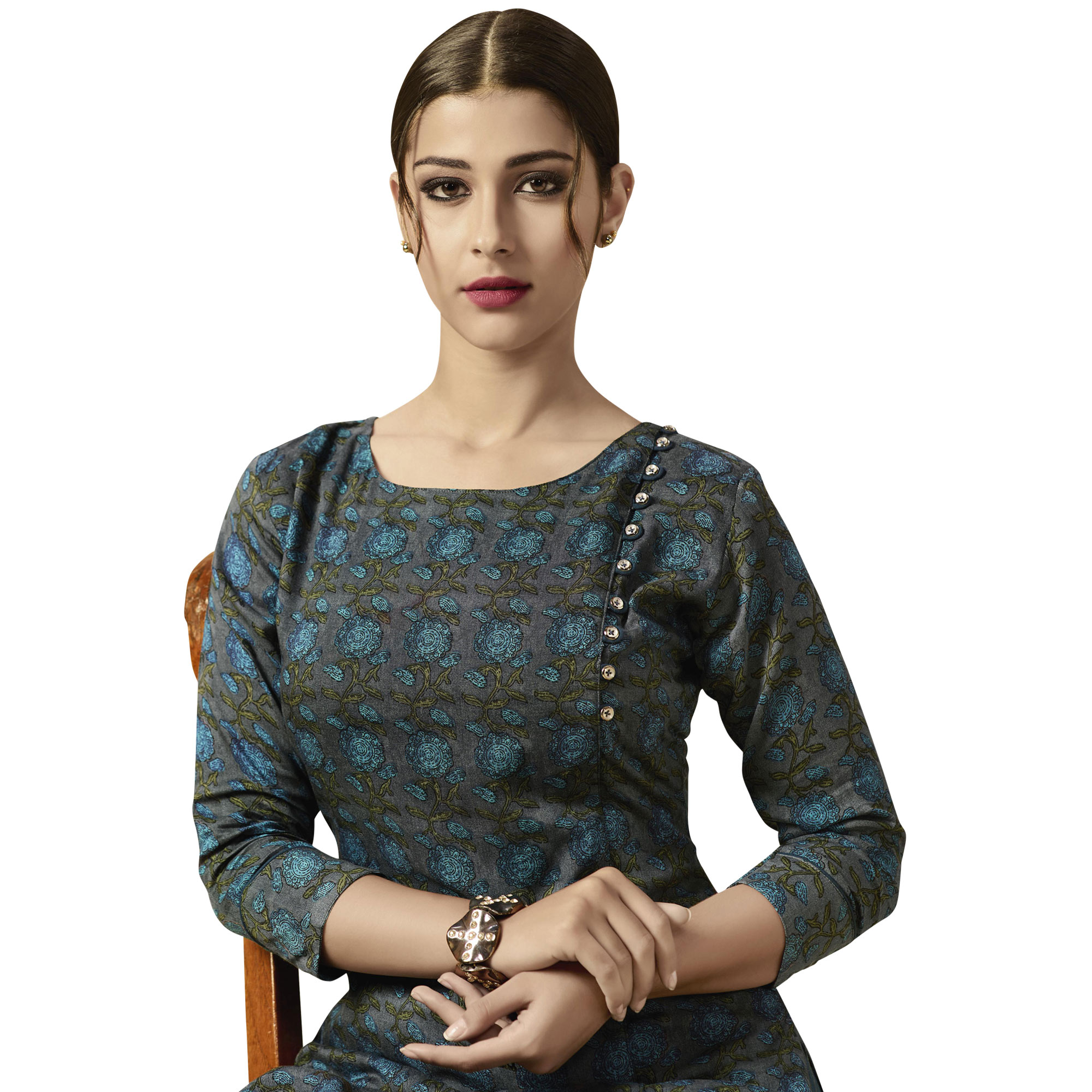 Gleaming Gray Colored Partywear Printed Rayon Kurti-Palazzo Set