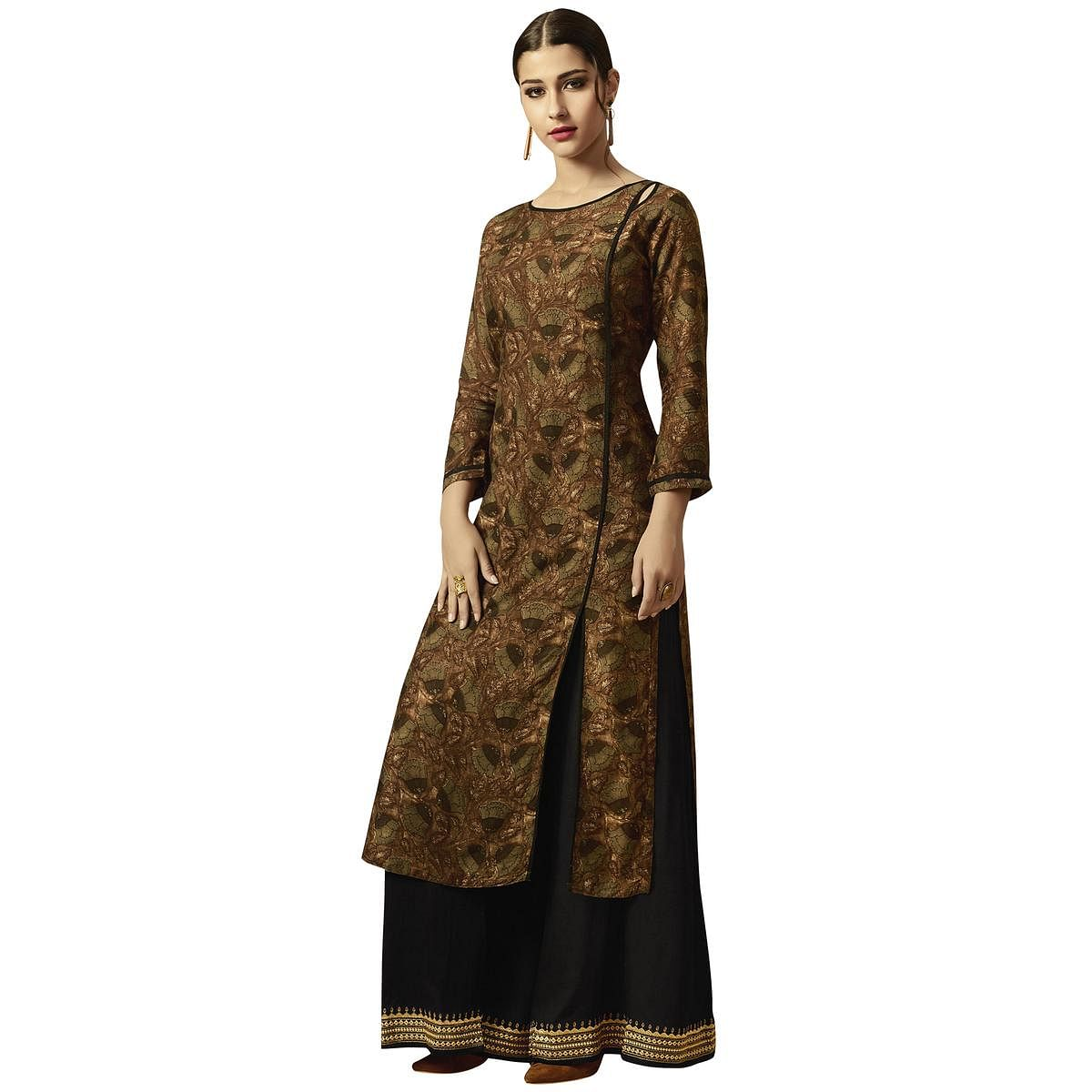Surpassing Brown Colored Partywear Printed Rayon Kurti-Palazzo Set
