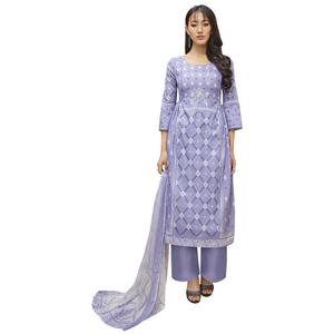 Appealing Violet Colored Partywear Printed-Embroidered Cotton Suit