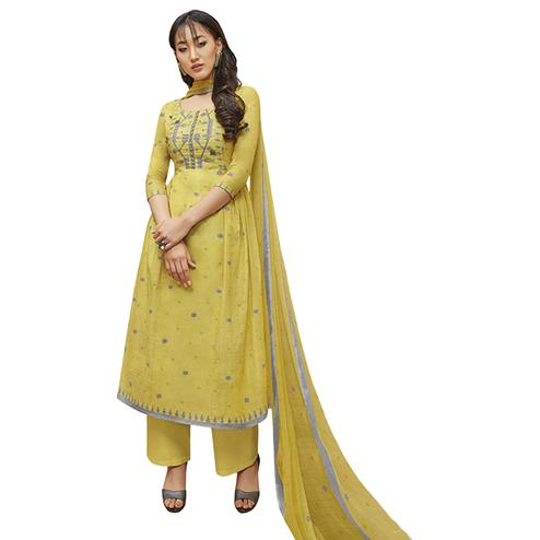 Attractive Lemon Green Colored Partywear Printed-Embroidered Cotton Suit