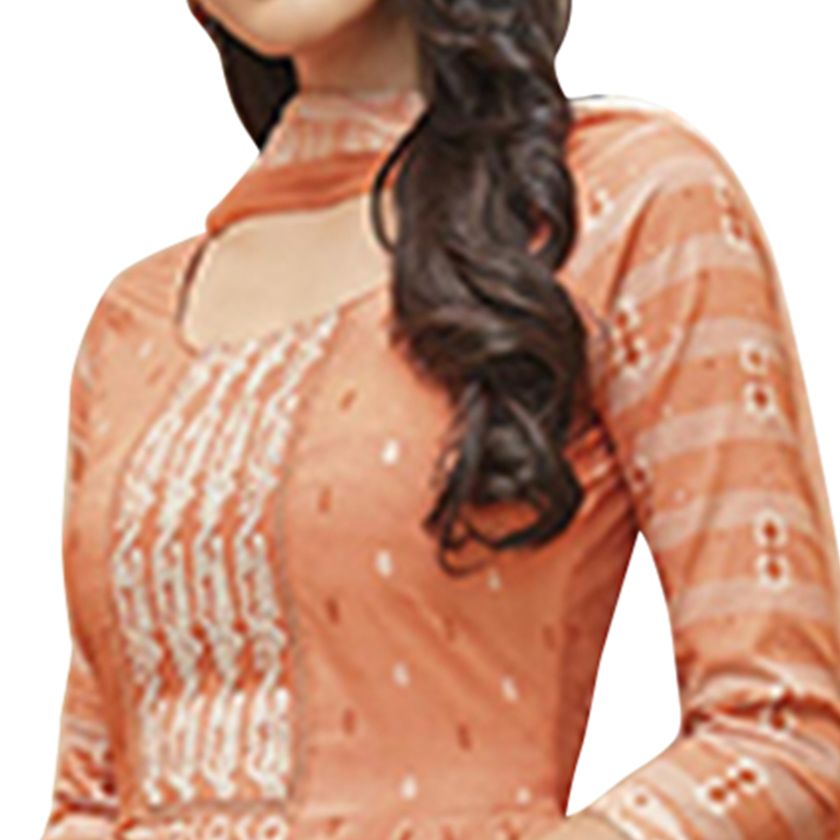 Pleasant Light Orange Colored Partywear Printed-Embroidered Cotton Suit