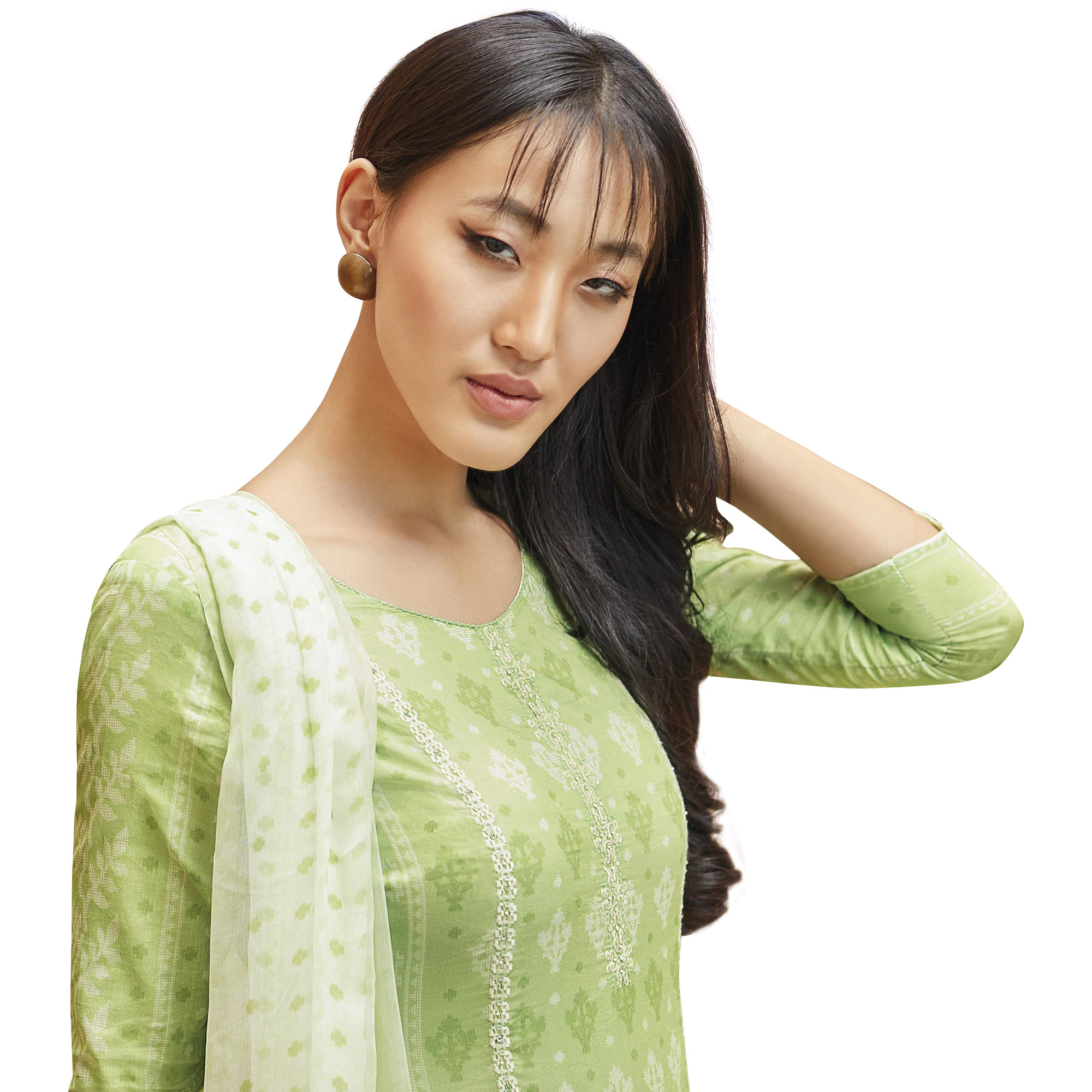 Gleaming Light Green Colored Partywear Printed-Embroidered Cotton Suit