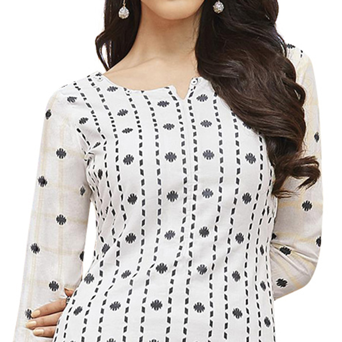 Desiring White Colored Partywear Printed-Embroidered Cotton Suit