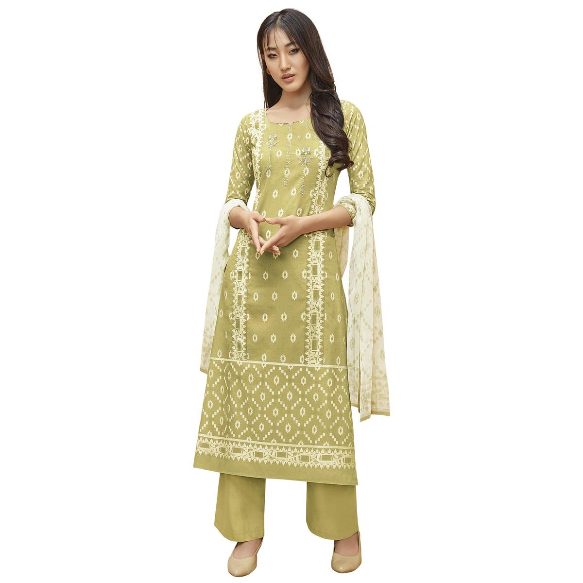 Eye-Catching Green Colored Partywear Printed-Embroidered Cotton Suit