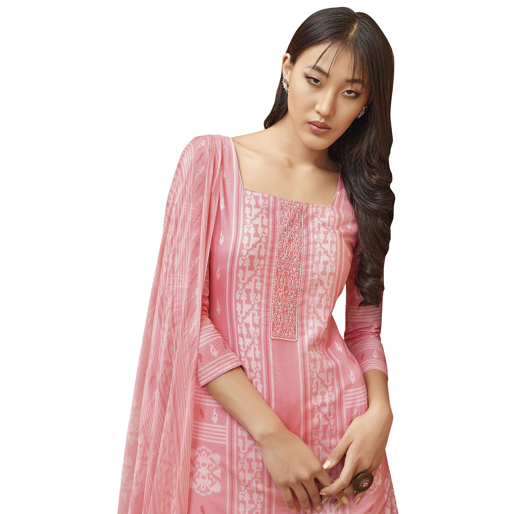 Pretty Pink Colored Partywear Printed-Embroidered Cotton Suit