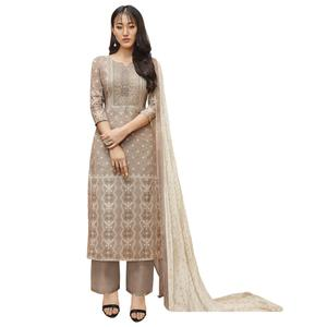 Trendy Gray Colored Partywear Printed-Embroidered Cotton Suit