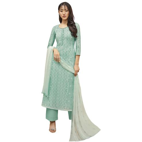 Refreshing Aqua Blue Colored Partywear Printed-Embroidered Cotton Suit