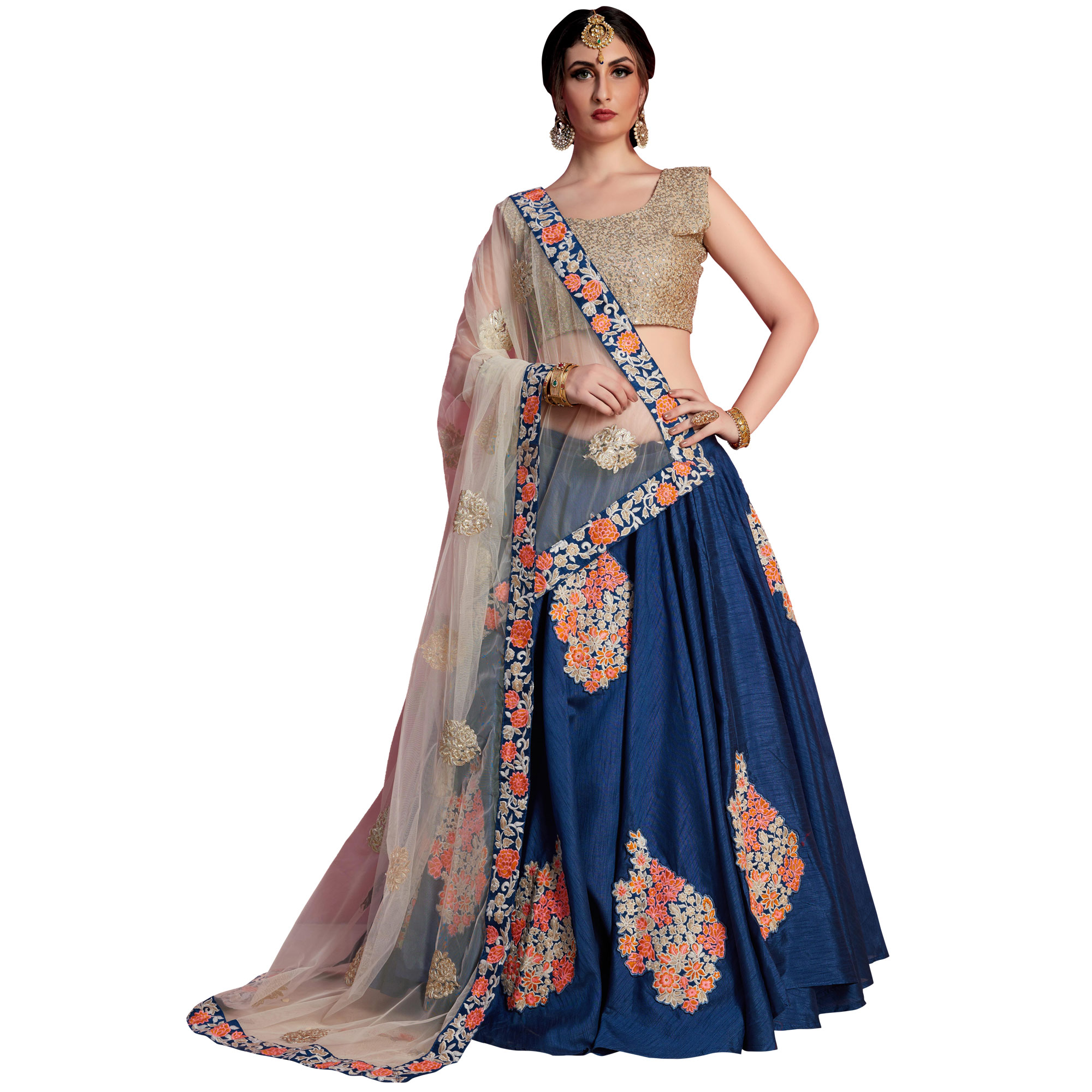 Gleaming Navy Blue-Beige Colored Partywear Embroidered Art Silk Lehenga Choli