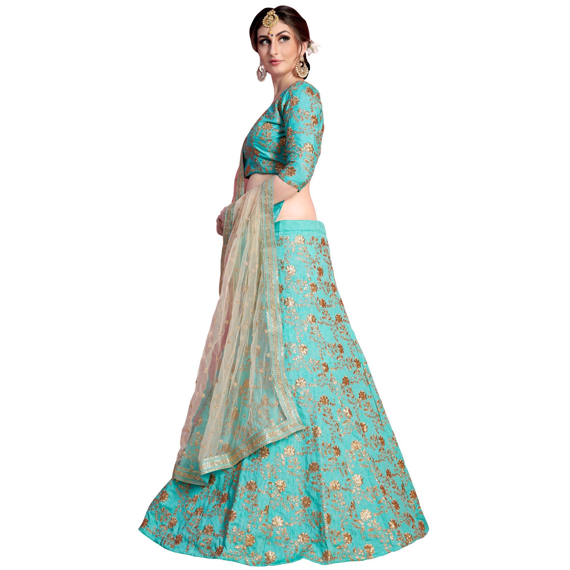 Stunning Aqua Blue Colored Partywear Embroidered Art Silk Lehenga Choli