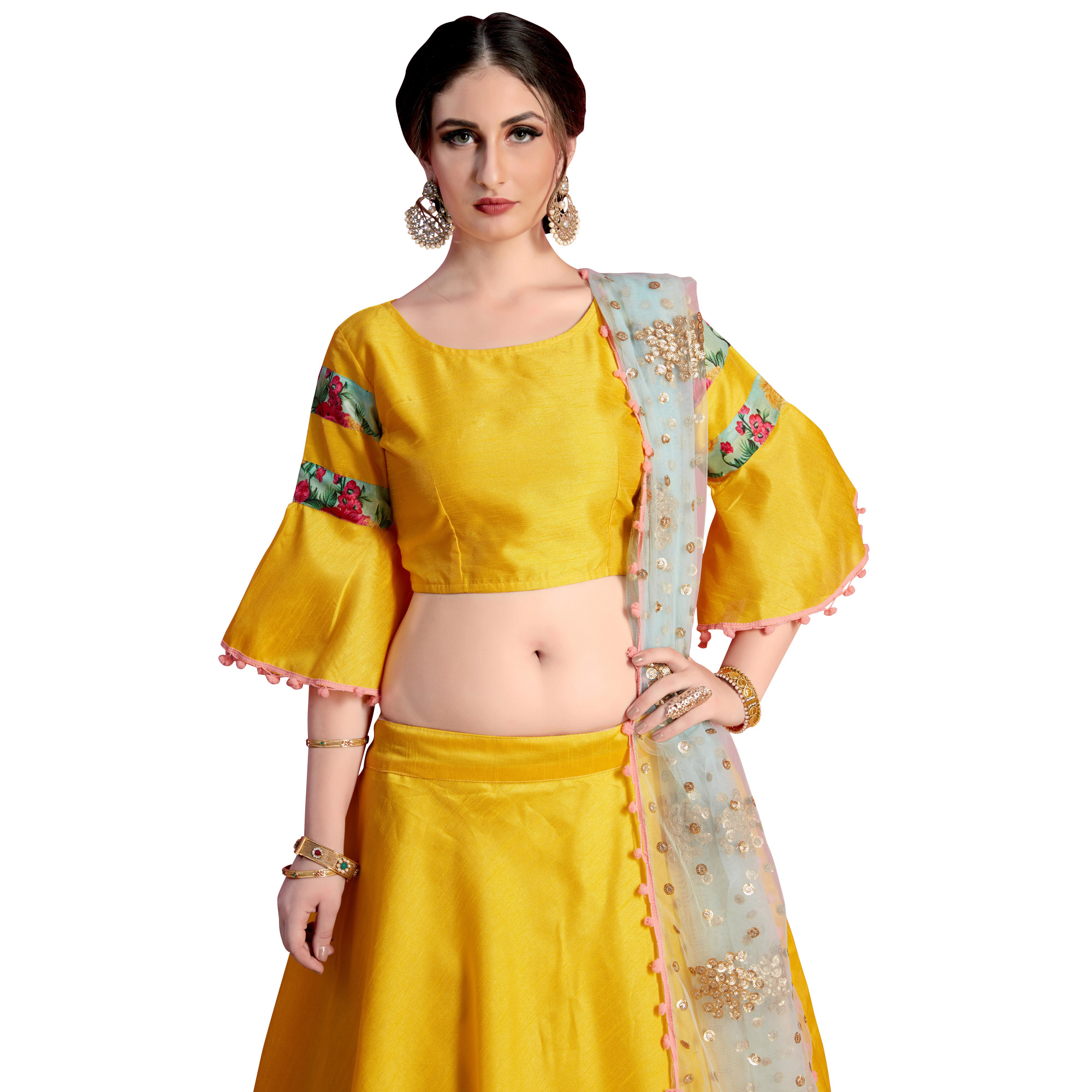 Fantastic Yellow Colored Partywear Embroidered Art Silk Lehenga Choli