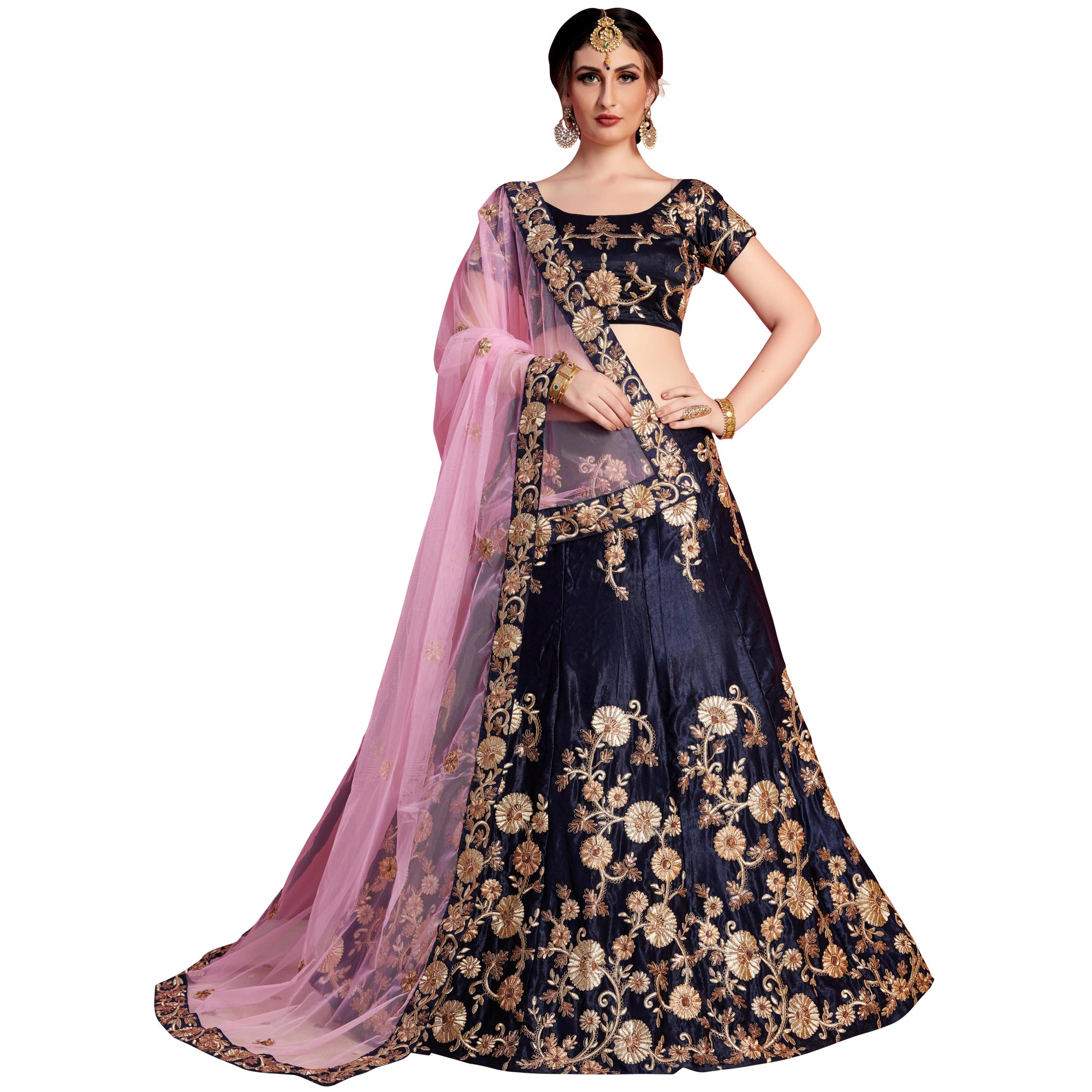 Majestic Navy Blue Colored Partywear Embroidered Velvet Silk Lehenga Choli