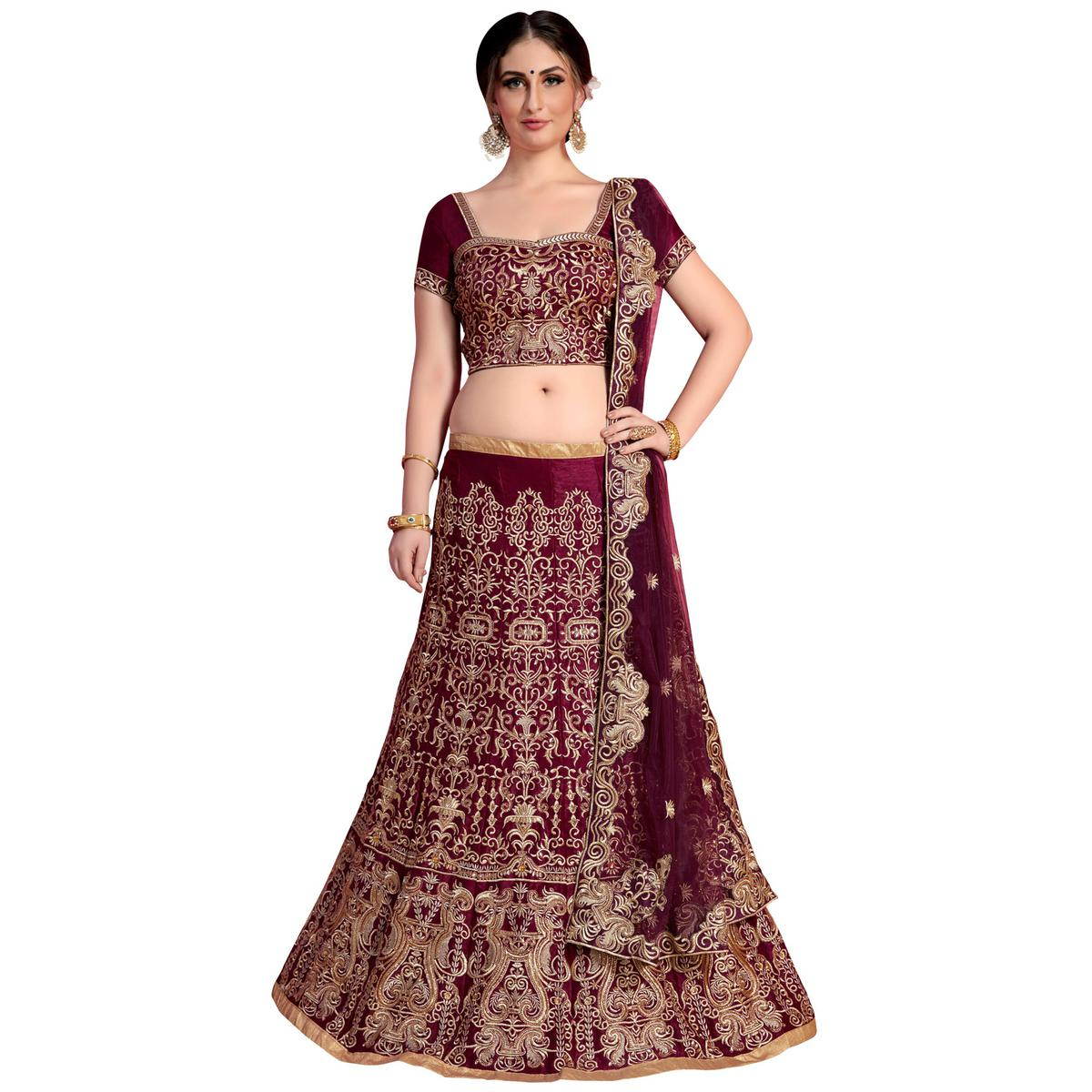 Excellent Wine Colored Partywear Embroidered Velvet Silk Lehenga Choli