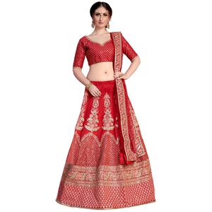 Blooming Red Colored Partywear Embroidered Art Silk Lehenga Choli
