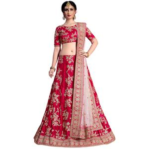 Attractive Pinkish Red Colored Partywear Embroidered Velvet Silk Lehenga Choli