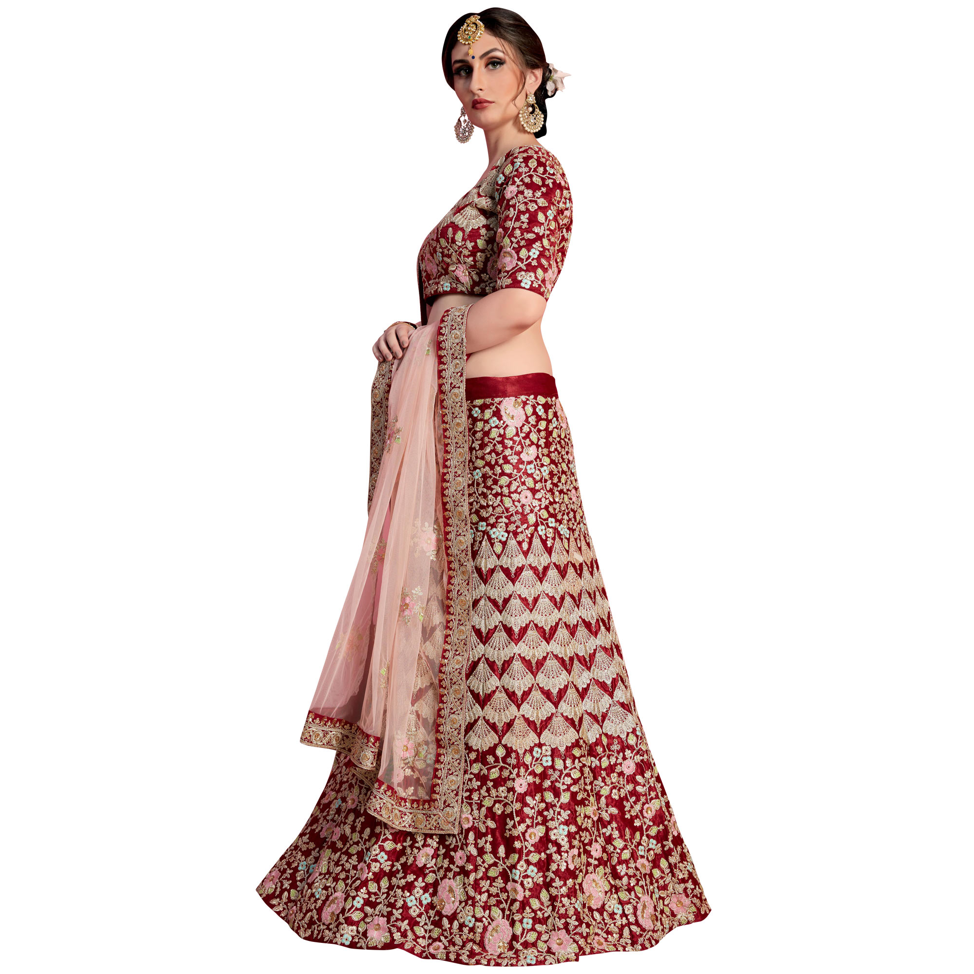 Staring Maroon Colored Partywear Embroidered Velvet Silk Lehenga Choli