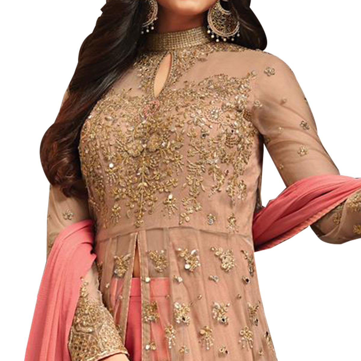 Majestic Light Brown Colored Partywear Embroidered Netted Anarkali Suit