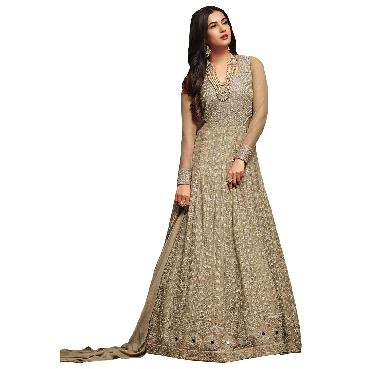 Groovy Gray Colored Partywear Embroidered Georgette Anarkali Suit