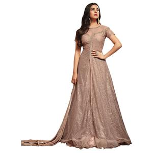 Exceptional Light Wine Colored Partywear Embroidered Netted Anarkali Suit