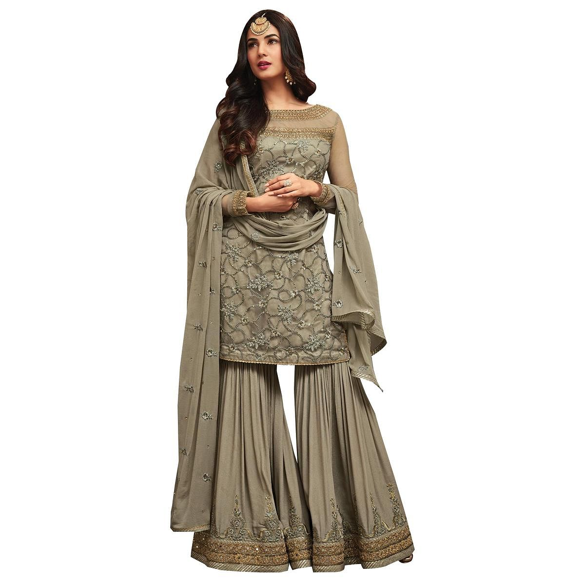 Mesmerising Gray Colored Partywear Embroidered Netted Palazzo Suit