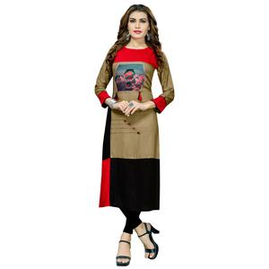 Attractive Brown-Black Colored Casual Printed Rayon Long Kurti