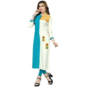 Amazing Sky Blue-White Colored Casual Printed Rayon Long Kurti