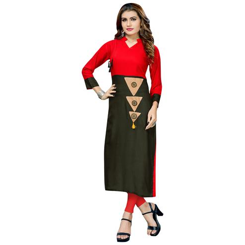 Glowing Red-Black Colored Casual Printed Rayon Long Kurti