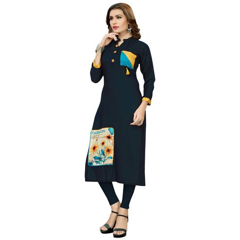 Demanding Navy Blue Colored Casual Printed Rayon Long Kurti