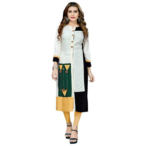 Appealing Cream-Black Colored Casual Printed Rayon Long Kurti