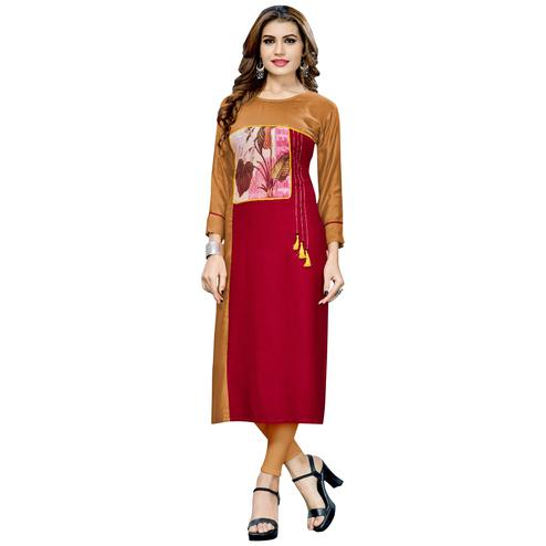Different Chiku-Red Colored Casual Printed Rayon Long Kurti
