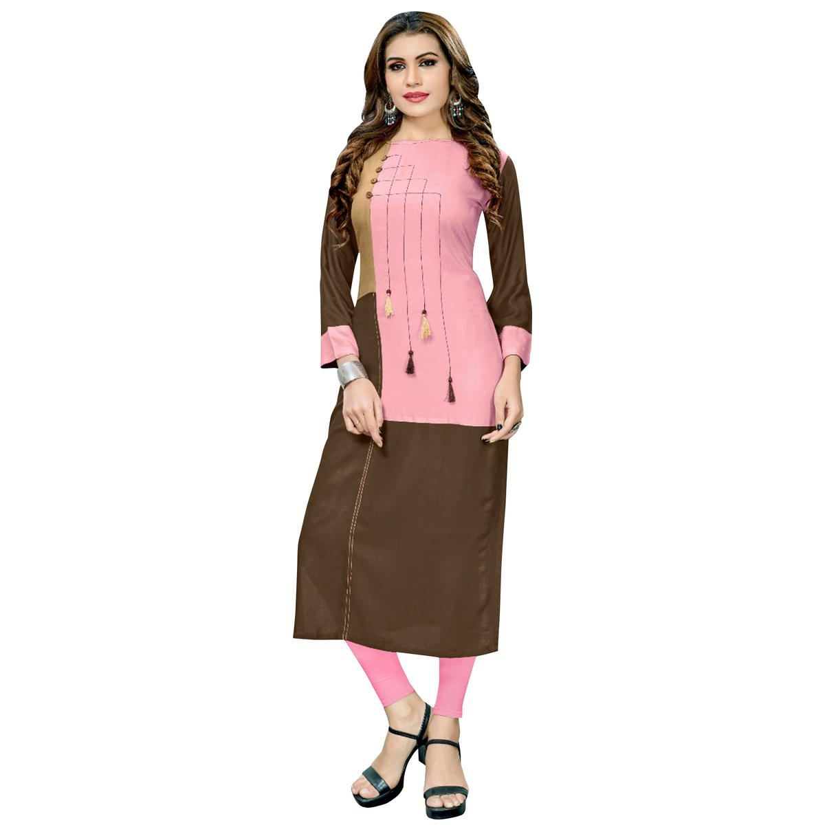 Eye-Catching Pink-Brown Colored Casual Printed Rayon Long Kurti