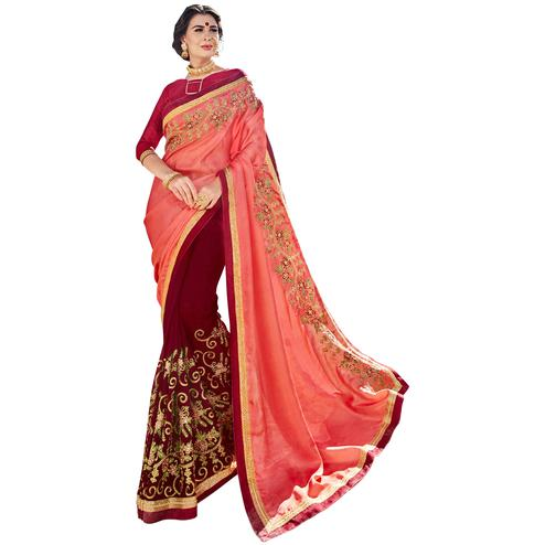 Arresting Peach-Magenta Pink Colored Partywear Embroidered Silk Half-Half Saree