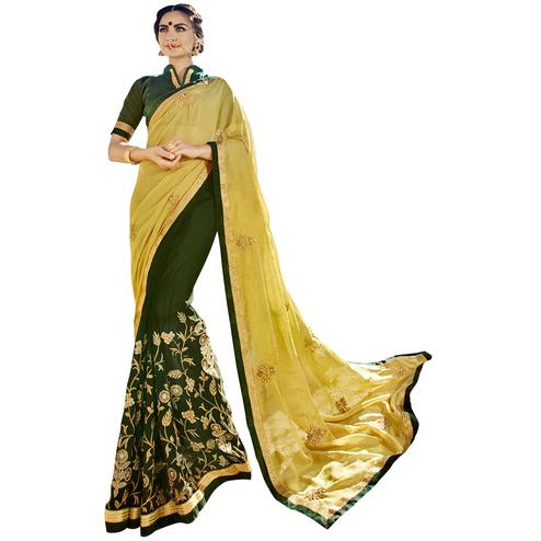 Flattering Green Colored Partywear Embroidered Silk-Georgette Half-Half Saree