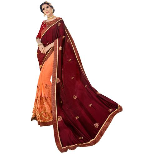 Hypnotic Maroon-Peach Colored Partywear Embroidered Silk-Georgette Half-Half Saree