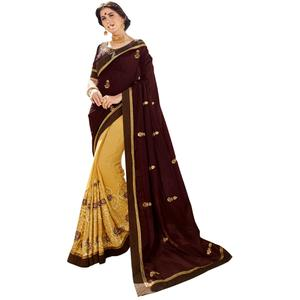 Appealing Brown-Yellow Colored Partywear Embroidered Art Silk Half-Half Saree